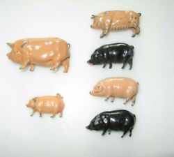 Vintage Lead Farm Animals - J Hill And Co And Britains Pigs Lot J4