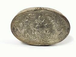 1800and039s Antique Silver Tin Case Box Hand Engraving Double-headed Eagle /w Crown