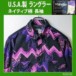 Made In Usa Wrangler Native Total Pattern Long Sleeve Shirt Xl Used Vintage