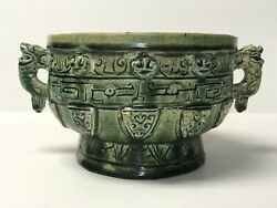Antique Chinese Porcelain Censer With Mark Green Glaze Very Old