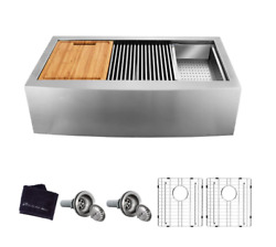 Apron-front Farmhouse 36 50/50 Workstation Sink W/accessories Stainless Steel