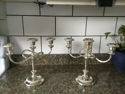 Antique Pair Silverplate 3 Light C@ndle Holders, Candelabra's, Silver Plated