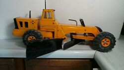 Vintage Discontinued Yellow Mighty-tonka Double Blade Grader Pressed Steal 24 L