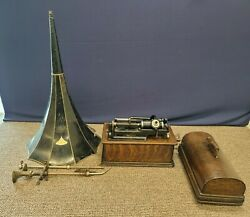 1906 Thomas Edison Home Phonograph Wax Cylinder Player Standard Horn Antique
