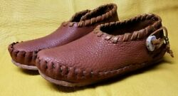 Buffalo Men's Size 9 Moccasins Tobacco Brown Indian Leather Cherokee Style