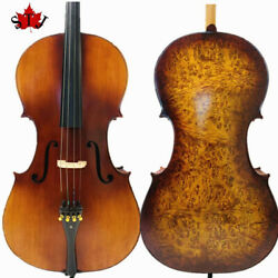 Rare Professional Song Cello 4/4 Solid Bird Eye Maple Back Old Spruce Top 15116