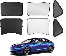 Model 3 Sunshade Glass Roof And Half Rear Window Sunshade Foldable For 2017-2021