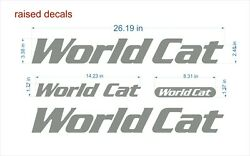 World Cat Boat Emblem 26 Chrome + Free Fast Delivery Dhlexpress - Raised Decals