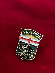 Shield Style Canadian Province Flag Bison Manitoba Canada Enamel Tie Lapel Pin