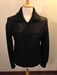 Nwt New Men's Shipley And Halmos Modern Full-zip Black Leather Jacket-large