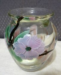 Orient And Flume Limited 165/300 Glass Cranberry Dogwood Flowers Vase Signed Jones