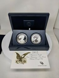 2012-s American Silver Eagle 2 Coin Set San Francisco Proof And Rev. Proof W/ Ogp