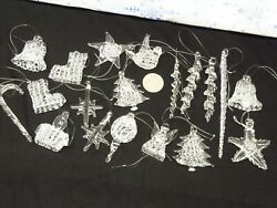 Lot Of 17 Spun Glass Tiny Christmas Ornaments 1 1/2 - 5 Icicle Star Bell Angel