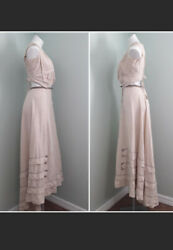 1800s/1900s 3pc Victorian Pink Day Dress/gown With Blue Stitching/buttons