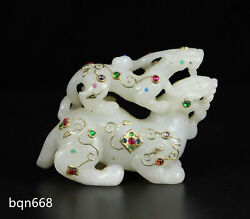 3.9 Qing Dynasty China Antique White Hetian Jade Natural Gem Inlay Beast Statue
