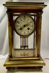 Antique French Crystal Regulator Clock With Stone Pillars
