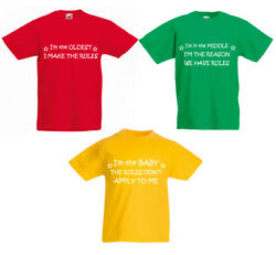 Kids Rules Tshirt Set Baby Middle Oldest Tshirts Red Green Yellow Childrens Tops