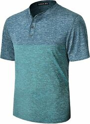 Tapulco Mens Collarless Golf Shirts Short Sleeve Dry Fit Stretch Casual Breathab