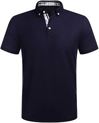 Tinkwell Mens Polo Short Sleeve Plaid Polos Jersey Classic Fit Pique Golf Shirt