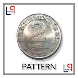 Indonesia Coin , 2 Rupiah 1970 Unc Lustre Guaranty Pattern