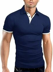 Oncegala Men's Short Sleeve Polo Shirts Casual Slim Fit Fashion Stretch Cotton S
