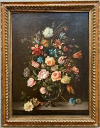 Antique 19th Original French School Painting Oil On Canvas Still Life Framed