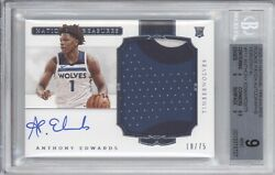 Anthony Edwards Bgs 9 2020-21 National Treasures 111 Rookie Patch Auto /75 Rpa
