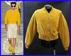 New Versace Yellow Suede Leather Bomber Jacket 48 - 38