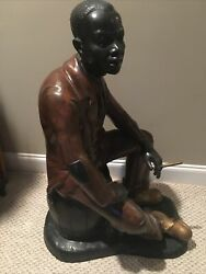 Large 3'x2' Sculpture Of Man Sitting On A Barrel With Cig/cigar Metal