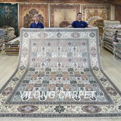 8and039x10and039 Handknotted Silk Area Rug Garden Scene Traditional Floral Carpet 176c
