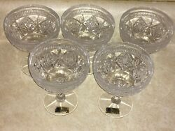 5 Cut Crystal Sherbet Dishes Wine Glasses Echt Bleikristall Made In Germany Nos