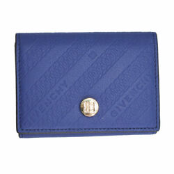 Brand New Givenchy Bond Blue Leather Trifold Wallet Bb60beb0rx