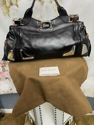 Large Black Leather Race Tote Brand New Stunning Authentic Msrp 2650 Nwts