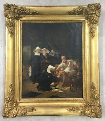 Antique 1829 Original French School Hospital Scene Oil On Canvas Painting Dated