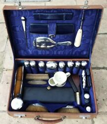 Antique Gentlemans Leather Vanity Case Silver Topped Bottles Early 1900and039s