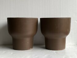 1970s Architectural Pottery Style Large Chalice Planter Pots- A Pair Fesco Usa