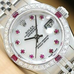Rolex Ladies Datejust 69174 Mother Of Pearl Ruby Diamond 18k White Gold/ss Watch
