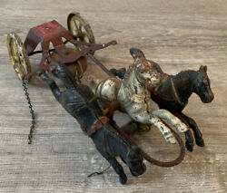 Antique Cast Iron Toy Fire Truck Triple Horse Team Only