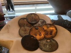 Lot Of 8 Vintage Coal Mine Car Tags Tokens Scrip Isc Co 38