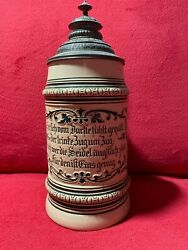 Antique Rare German Beer Stein 1l Hauber And Reuther 133 1882 - 1907