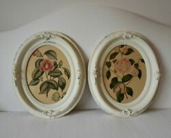Pair Vintage Antique Painted Wood Oval Picture Frames With Vintage Flower Prints