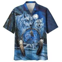 New Native Wolf Ice Land Blue 3d Hawaii Shirt Us Size Gift For Friend Best Price