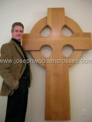 Large 6 Ft. Wooden Irish Celtic Wall Cross For Church, Home Castle Chapel