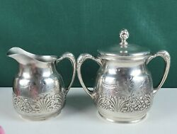 Pairpoint Quadruple Plate Sugar Bowl And Creamer - Embossed Florals Silver Tone