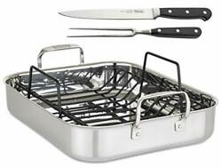 Viking Culinary 3-ply Roasting Pan W/ Rack And Carving Set 16 X 13 X 3 Stai...