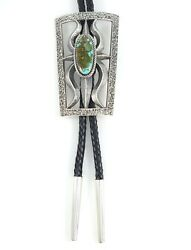 Kevin Yazzie Navajo Sterling Silver Bolo Tie Handmade Rare Kingman Turquoise