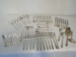 Antique Lot Of 60 Rogers Xii Overlaid Is Silverware