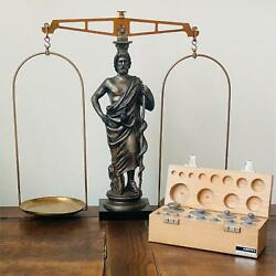 Vintage Gottl. Kern And Sohn Brass Marble Balance Scale Gram Weights Apothecary