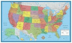 Wall Map Of The United States USA Road Travel Maps Hanging US Poster Home new