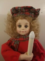 Telco Motionettes Animated Lighted Girl Christmas Caroler Red Plaid Clothing